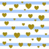 VECTOR. Card background. Light blue and white stripes and golden hearts. VECTOR. Valentines day card background. Light blue and white stripes and golden hearts Royalty Free Stock Photography
