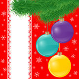 Vector card background with spruce branch and bright christmas balls Royalty Free Stock Images