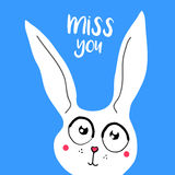 Vector card, banner lettering letters I miss you, cartoon bunny with sad eyes. Saying emotions, feelings, print on T-shirt Stock Photos