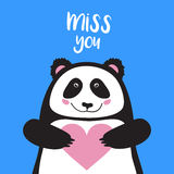 Vector card, banner lettering letters I miss you, cartoon panda holding heart and smiling, saying emotions, feelings, print on T-s. Hirt Royalty Free Stock Photo