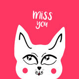 Vector card, banner lettering letters I miss you, cute cartoon cat with a thoughtful look Stock Photos