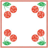 Vector card with berries. Empty square form with ornamental cherries, leaves and border with dots. Stock Images