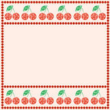 Vector card with berries. Empty square form with ornamental cherries, leaves and border with dots. Royalty Free Stock Photos