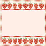 Vector card with berries. Empty square form with ornamental strawberries and border with dots. Royalty Free Stock Photos