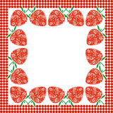 Vector card with berries. Empty square form with ornamental strawberries and border with dots. Stock Images