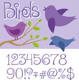 Vector Card With Birds. And alphabet letters Royalty Free Stock Images