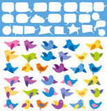 Vector Card With Birds. And speech bubbles Royalty Free Stock Photography