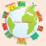 Vector card with birthday gift Royalty Free Stock Photos