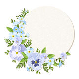 Vector card with blue and purple pansy and forget-me-not flowers. Eps-10. Stock Photos