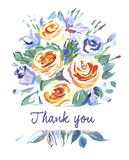 Vector card with a bouquet of flowers. Thank you Stock Photo