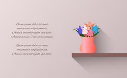 Vector card with bouquet of origami paper tulips in a vase Royalty Free Stock Photography