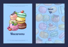Vector card or brochure template for sweet or pastry shop with colored hand drawn macaroons. Vector card, flyer or brochure template for sweet or pastry shop Stock Photo
