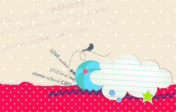 Vector card with bubble cloud for text and ball Stock Photography
