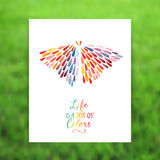Vector card with butterfly made of colorful watercolor rain drop Stock Photos