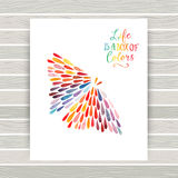 Vector card with butterfly made of colorful watercolor rain drop Royalty Free Stock Image
