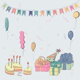 Vector card with cake and balloons Royalty Free Stock Photography