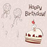 Vector card with cake and baloons. On background Vector Illustration