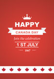 Vector card for Canada Day. Illustration for 1st of July Canada Independence Day with flag and maple leaf. Beautiful retro text Stock Images