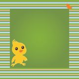 Vector card with chicken and butterfly Stock Images