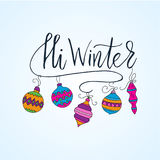 Vector card with Christmas decoration and handdrawn brush lettering.  Stock Image