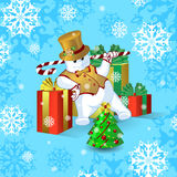 Vector card for Christmas or New Year. Dancing snowman in a gold top hat and waistcoat, with a stick of candy near the large brigh Stock Image