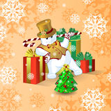 Vector card for Christmas or New Year. Dancing snowman in a gold top hat and waistcoat, with a stick of candy near the large brigh Stock Photography