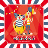 Vector card with clowns Stock Photography