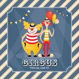 Vector card with clowns Royalty Free Stock Photography