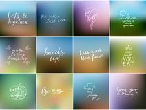 Vector card collection with hand lettering and gradient mesh bac Stock Photo