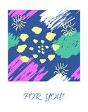 Vector card with color ink brushes grunge pattern. Hand drawing background . Greeting card with abstract texture vector illustration
