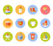 Vector card with colorful baby icons Royalty Free Stock Photos