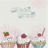 Vector card with colorful cupcake Stock Photo