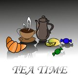 Vector card with cups and teapots Royalty Free Stock Images