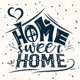 Vector card with cute abstract house. Handwriting lettering with Inspirational phrase Home sweet home. Calligraphic design for invitation or greeting card Stock Images
