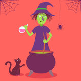 Vector card with cute cartoon witch. Vector Halloween card with cute cartoon witch Stock Images