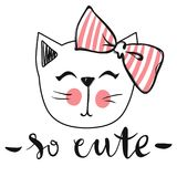 Vector card with cute fashion cat. Stylish kitten. Doodle Kitty. Kids animals print. Funny character. Cute illustration, trendy design Royalty Free Stock Images