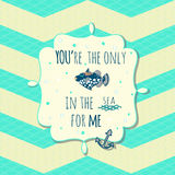 Vector card with cute fish and anchor in text box. Vector card with nice fish and anchor in text box on stylish seamless pattern Royalty Free Stock Image