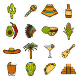 Vector card with cute hand drawn objects on Mexico. Theme: sombrero, poncho, tequila,, taco, skull, guitar, pyramid, avocado, lemon, chilli pepper, cactus Stock Photo