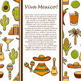 Vector card with cute hand drawn objects on Mexico. Theme: sombrero, poncho, tequila, taco, skull, guitar, pyramid, avocado, lemon, pepper, cactus, injun hat Royalty Free Stock Images