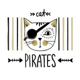 Vector card with cute pirate cat. Stylish kitten. Doodle fashion Stock Photography