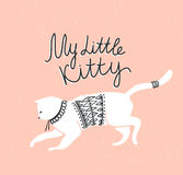 Vector card with cute white cat and stylish lettering 'my little kitty' Royalty Free Stock Photography