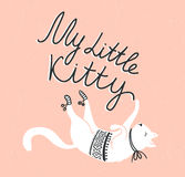 Vector card with cute white cat and stylish lettering 'my little kitty' Stock Photo