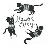 Vector card with cute white cats and stylish lettering 'my little kitty'. Royalty Free Stock Photo