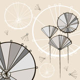 Vector card with dandelions, abstract print for greeting cards. Scrap booking Stock Photos