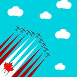 Card with planes. Vector card by day of Canada. Planes fly against the background of the blue sky and clouds vector illustration