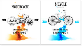 Vector card design with bicycle, motorcycle logo Royalty Free Stock Photo