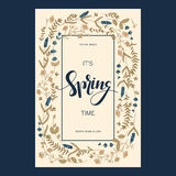 Vector card design with floral hand drawn field flowers and hand drawn words it`s spring time in a square frame. Vector pretty card design with floral hand drawn vector illustration