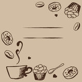 Vector card design with hand drawn coffee and dessert illustration. Coffee shop or cafe template. Decorative background. Frame template vector illustration Stock Images