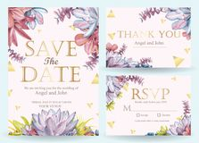 Succulent wedding invitation stock illustration