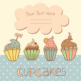 Vector card design with sweet cupcakes Royalty Free Stock Images